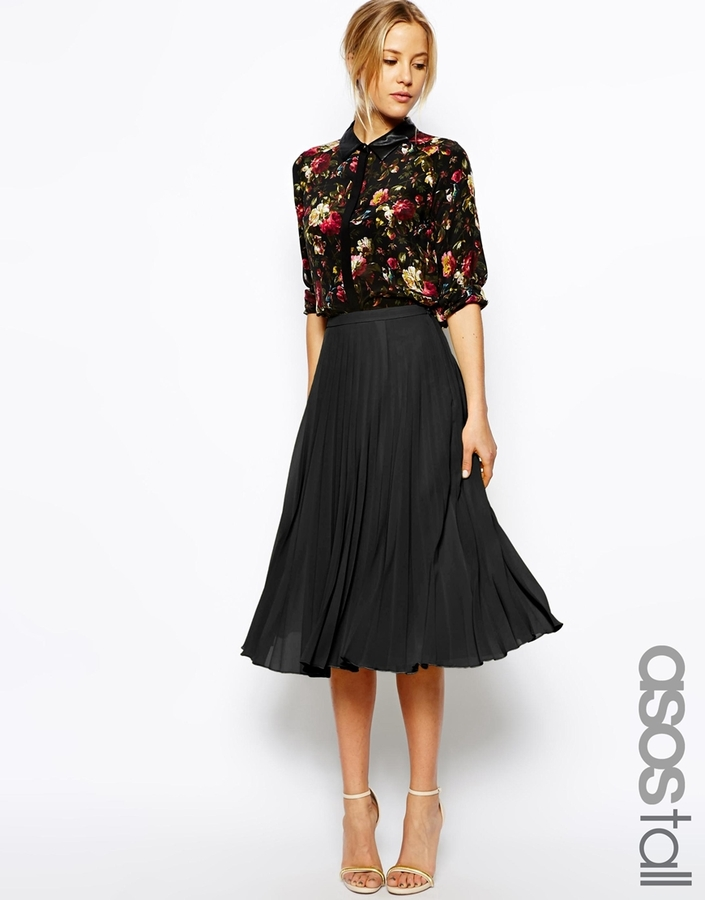 ... asos tall pleated midi skirt ... SCXFGVK
