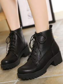 ... black lace-up chunky heel short boots ... HOUJNCV