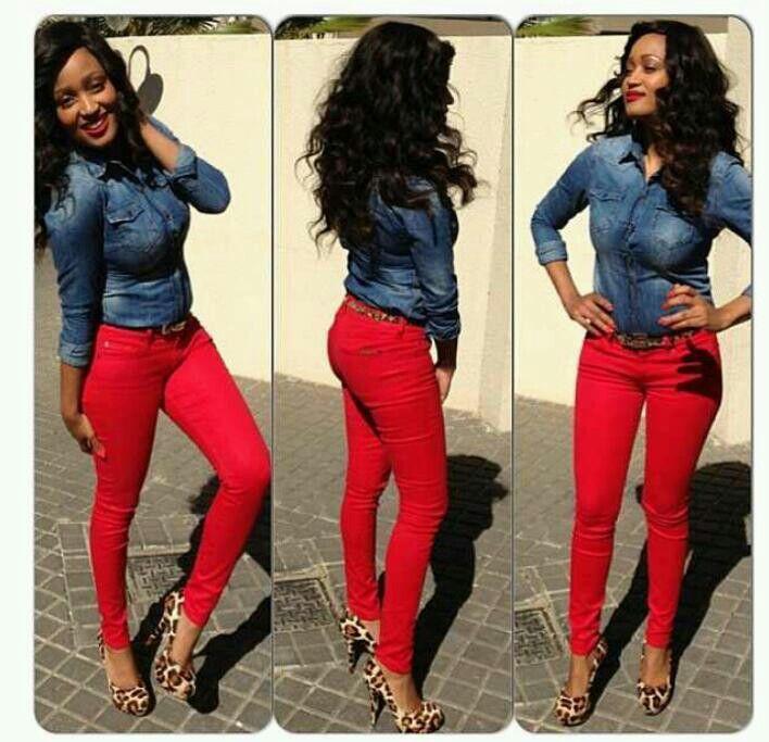 .denim shirt + red jeans + leopard heels- ❤️ DYLEZUD
