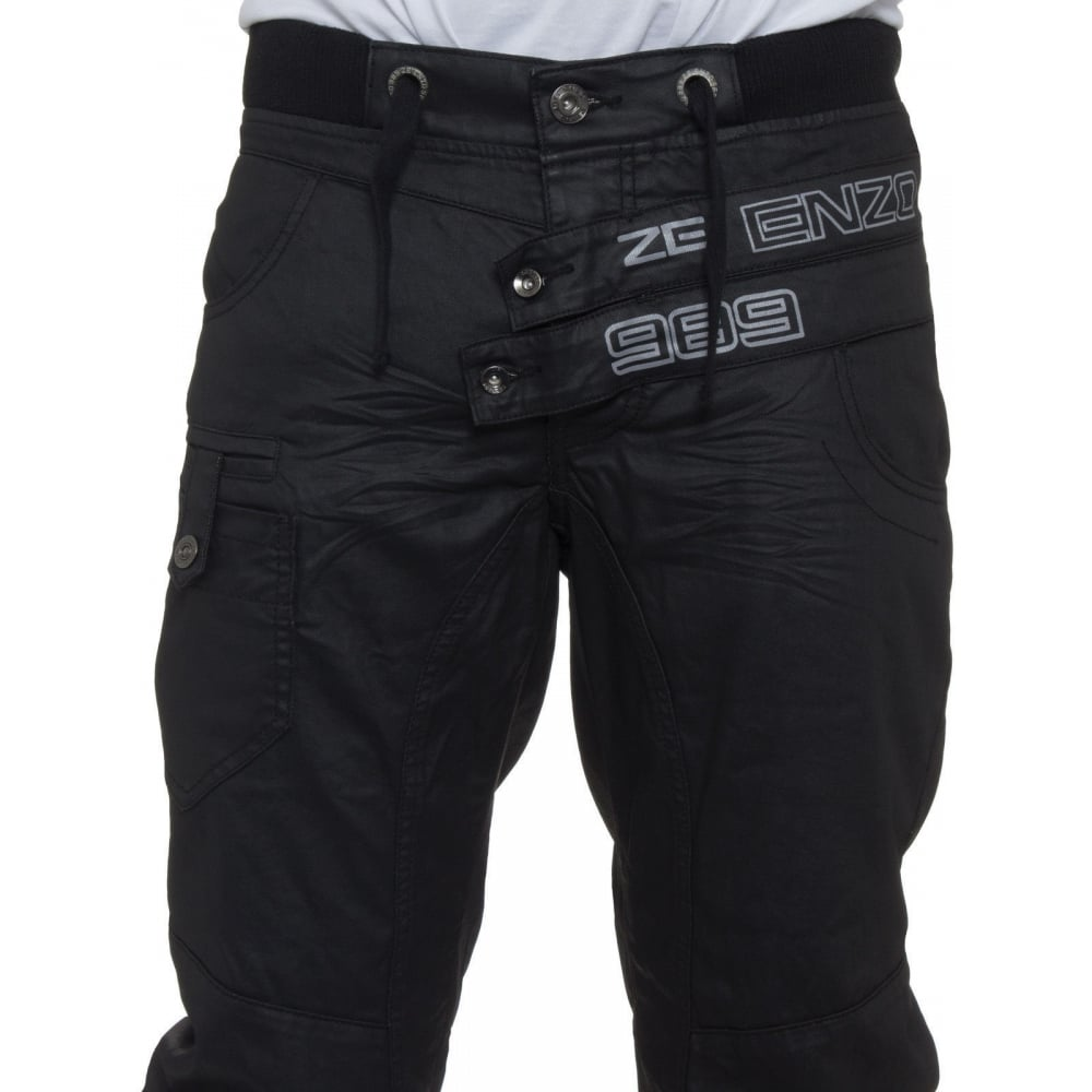 ... eto jeans enzo mens new cuffed coated denim jeans distressed black ... DFCGHLU