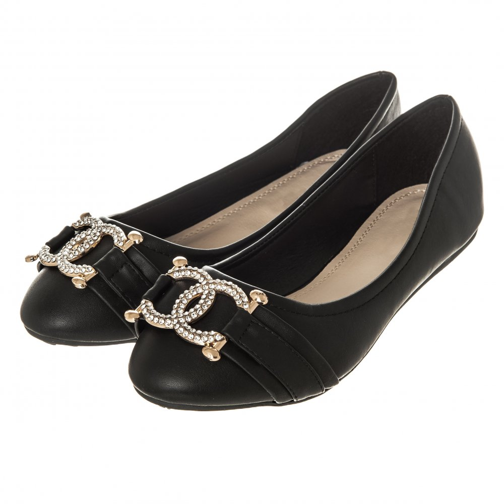... flat wedge heel ballerina pumps with diamante brooch ... VJPHBNH
