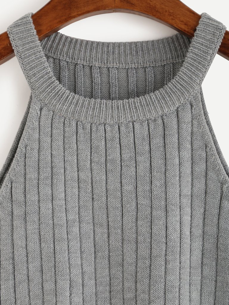 ... grey knitted tank top ... WASSMUI