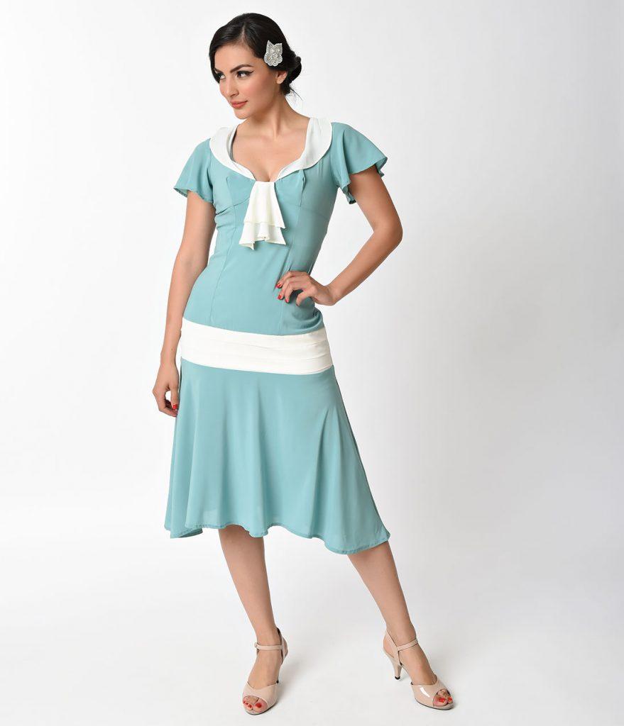 1920s day dresses, tea dresses, garden party dresses unique vintage 1920s  style seafoam ivory PUNBMDA