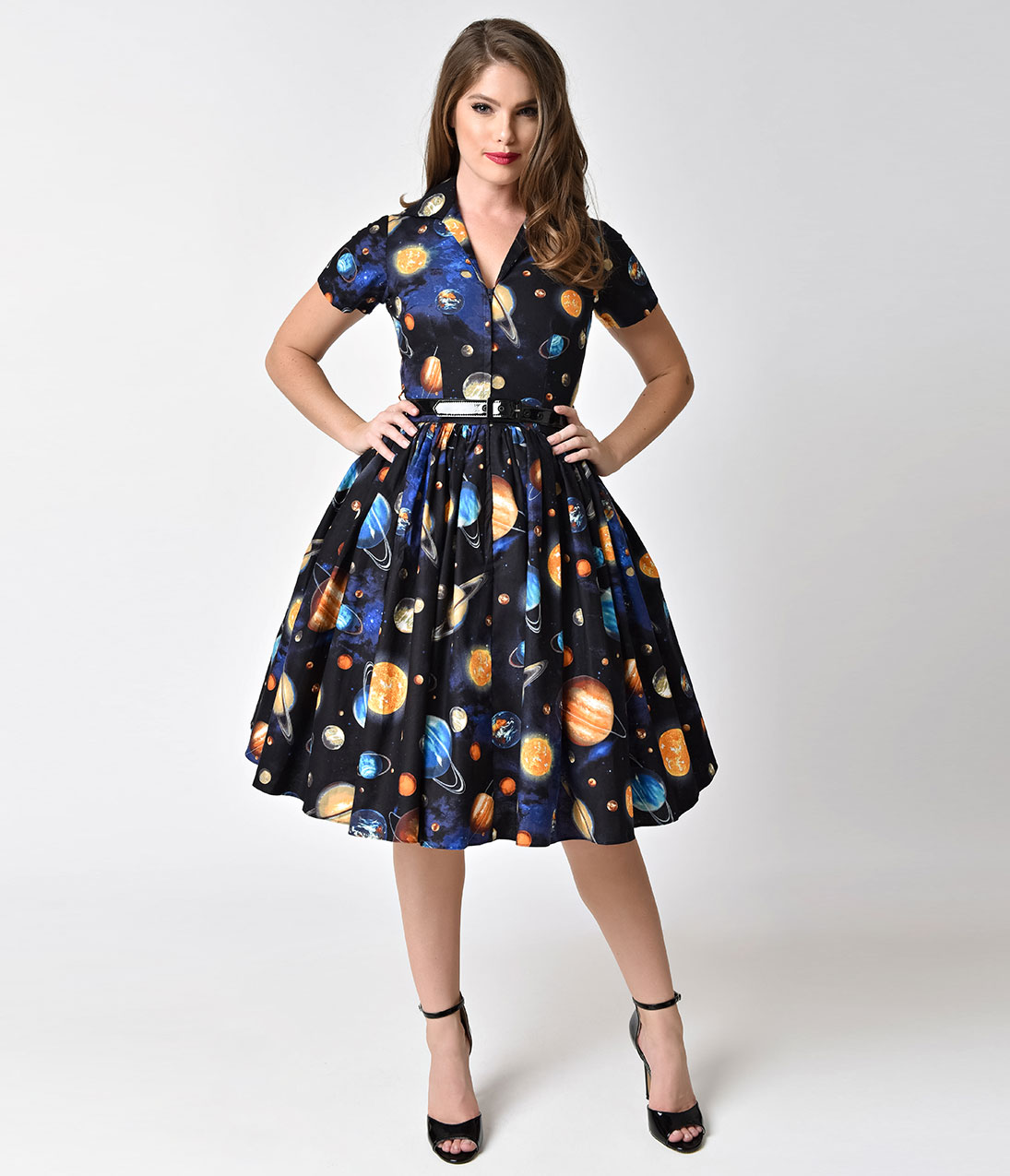 1950s rockabilly dresses | rockabilly clothing bernie dexter 1950s style  black outer space print XEVTKFZ