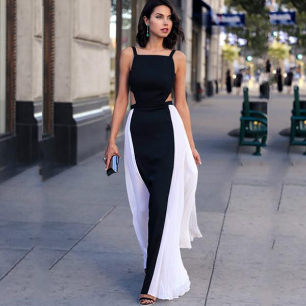 2016 summer style black and white maxi dress women dress casual pleated  backless sleeveless NCXYESB