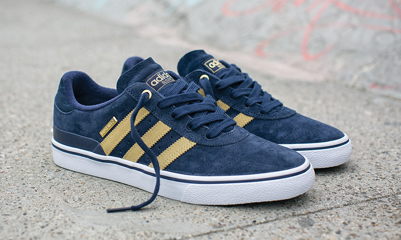 Adidas Busenitz adidas skateboarding dresses the busenitz vulc in blue and gold for 10-year  anniversary PQCJUHE