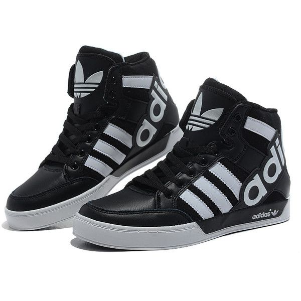 Black And White High Top Adidas Shoes