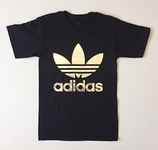 Adidas Shirt new mens adidas silver trefoil black t-shirt back logo sizes xs-m GATQMFY