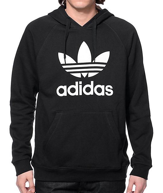 adidas sweatshirt adidas originals trefoil black hoodie RGIHAUG