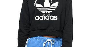 adidas sweatshirt adidas trefoil black cropped hoodie PEJHSZC