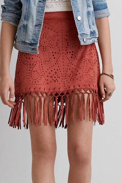 aeo faux suede fringe skirt by aeo | on the fringe: draw attention to the UQQIFQH