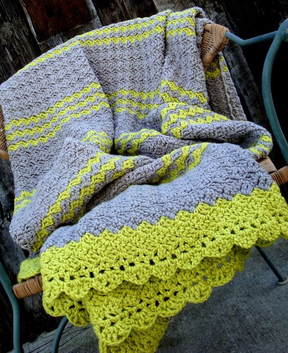afghan blanket crochet gray and lime green // now this is a modern color WLTOFSZ