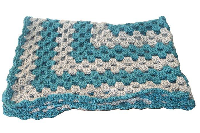 afghan blanket teal baby blanket, gray baby afghan, pram blanket, baby blanket boy, crochet NQJLMQI