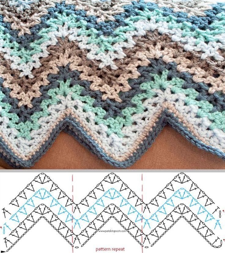 afghan blanket v-stitch crochet ripple afghan pattern OKDVMDR