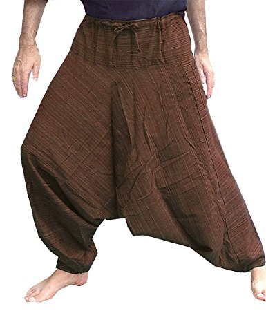aladdin pants aladdin hill tribe harem pants yoga trouser jump waist stripes brown. JIOMWLQ