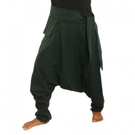 aladdin pants - with small side pocket to the side dark green DAQSMIX