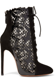 alaia shoes alaïa laser-cut suede and patent-leather ankle boots KXYYPDM