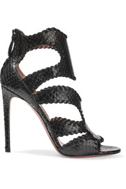alaia shoes alaïa whipstitched python sandals DEPMAME
