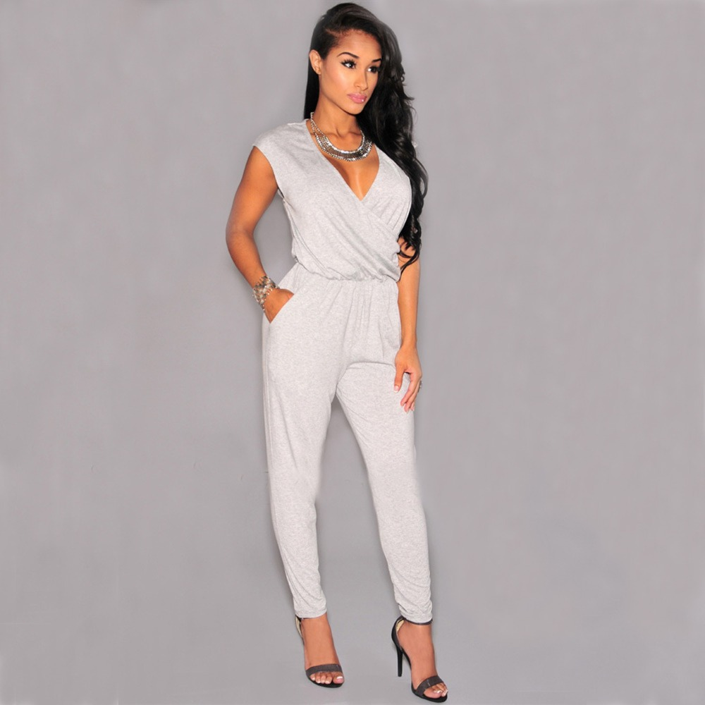 all white jumpsuit 2015 sexy club style womenu0027s bandage all white jumpsuits and rompers halter  jumpsuit deep DGEKWEU