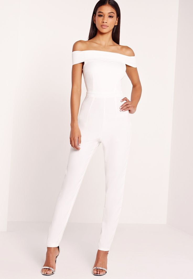 all white jumpsuit bardot jumpsuits are making a huge comeback and this all white beaut is top SBFXFET