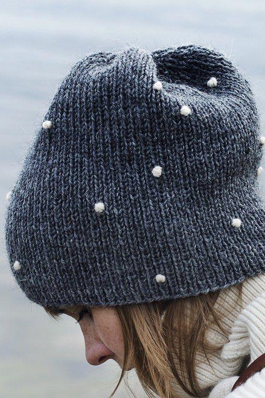an adult knit beanie lumipallo (snowball) from yarn novita 7 veljestä |  novita knits GFVAPSE