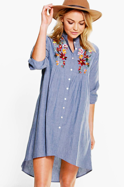 ana embroidered denim shirt dress. hover to zoom JRADHFN