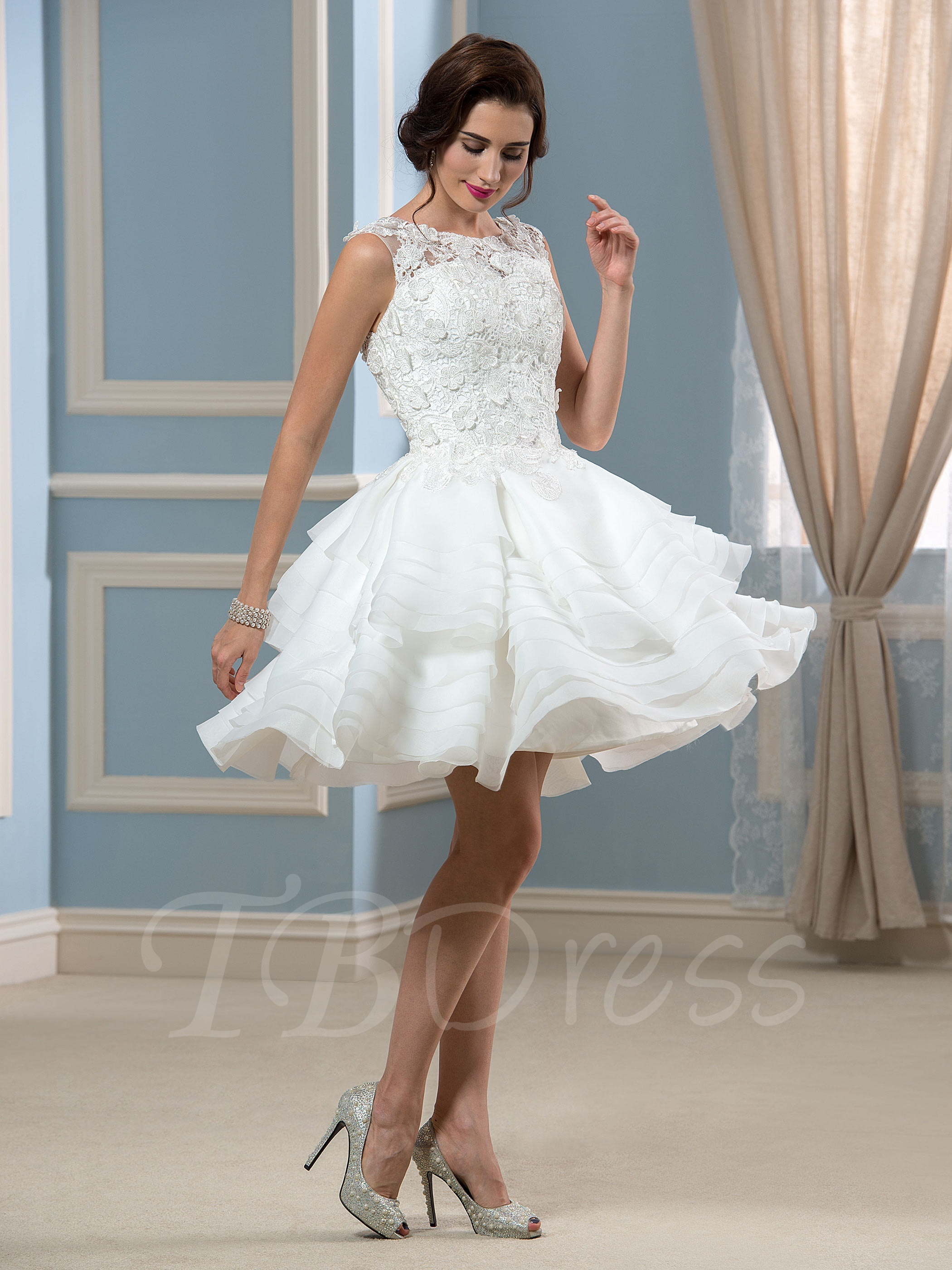 appliques lace organza knee-length a-line short wedding dress ... PMPQXZY