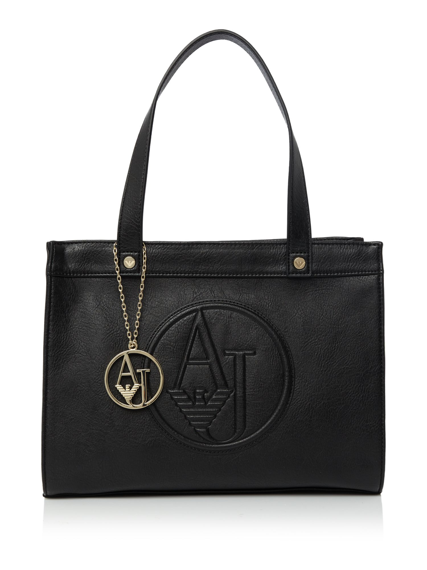 armani bags armani jeans eco leather black medium tote bag - house of fraser BDNZMSY