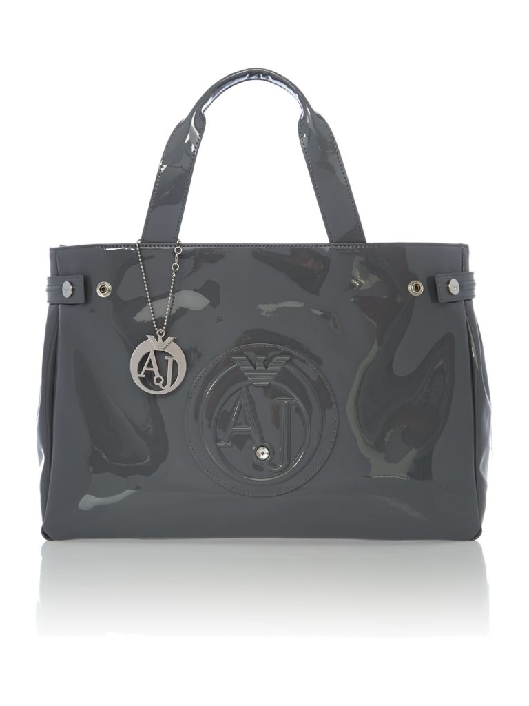 armani bags armani jeans patent grey tote bag – house of fraser HUYBVND
