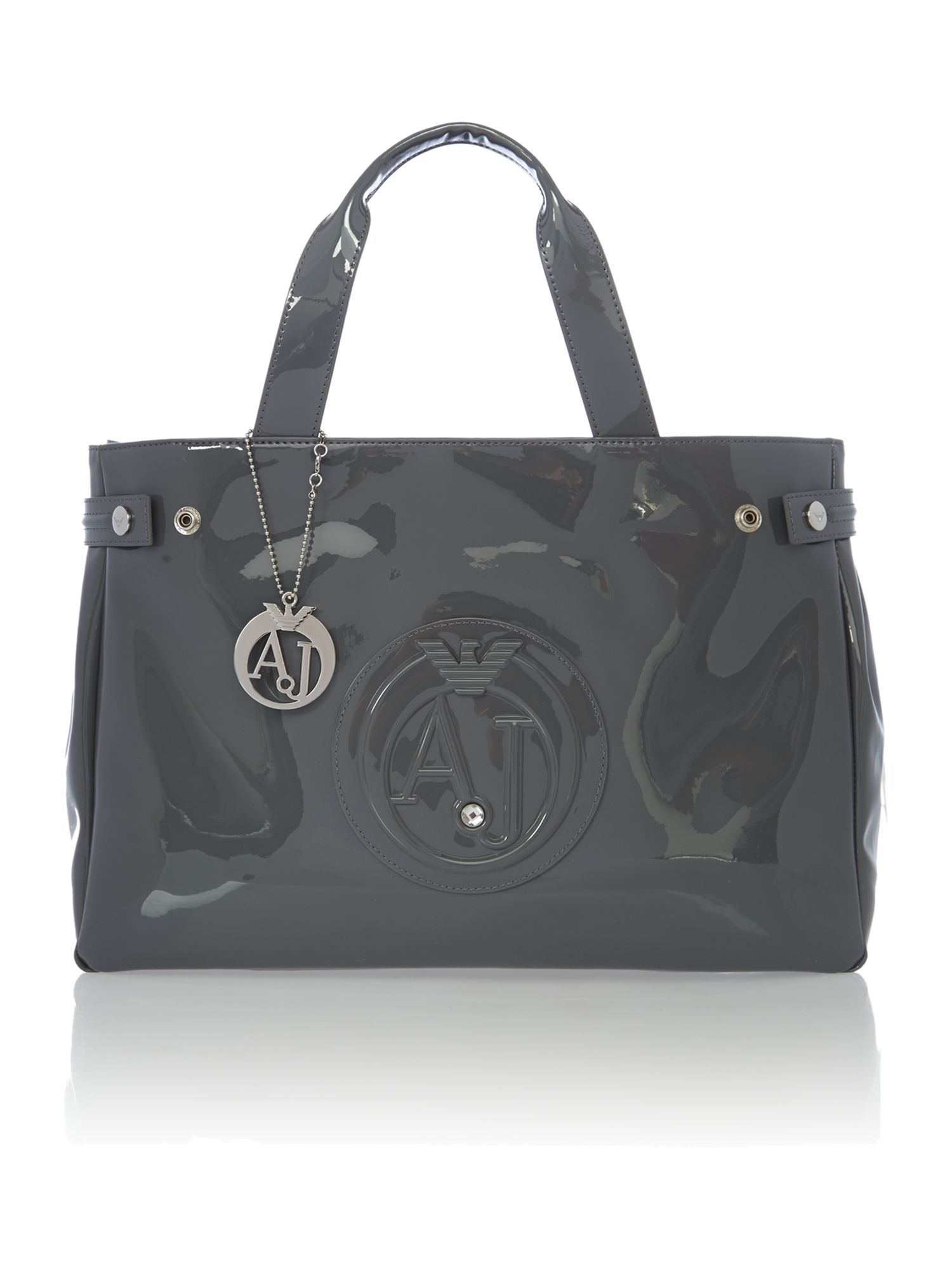 armani bags armani jeans patent grey tote bag - house of fraser HUYBVND