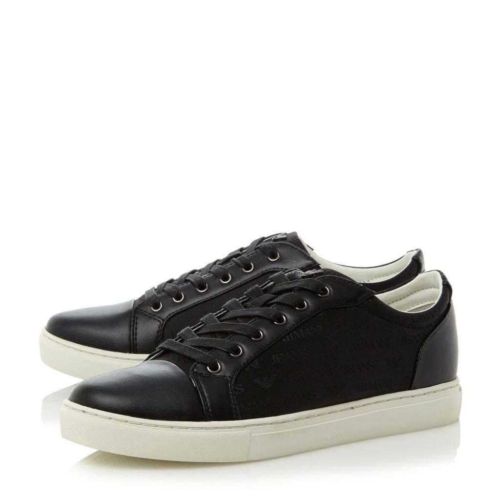 armani shoes armani jeans 935575 jaquard logo cupsole trainers armani jeans 935575  jaquard logo cupsole trainers QORBEBQ