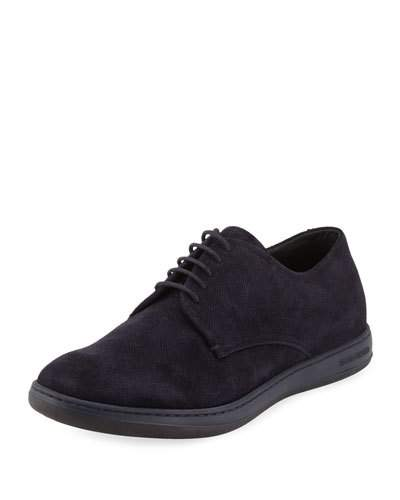 armani shoes perforated suede sport derby, navy BFKZRMI
