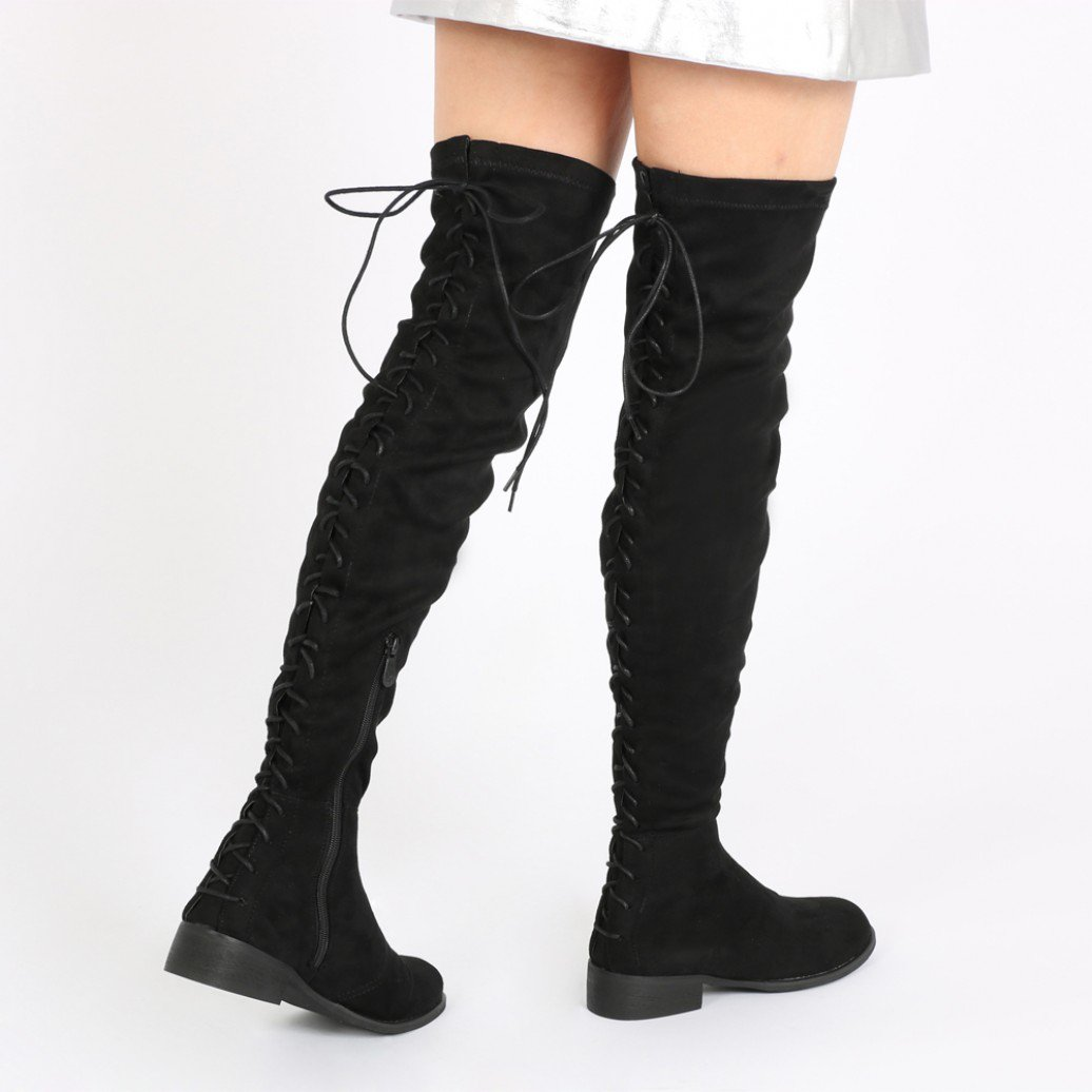 arya lace up back flat long boots in black faux suede WDBPWZR