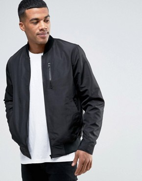asos bomber jacket with zip chest pocket in black CDYELHY