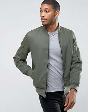 asos cotton bomber jacket with sleeve zip in khaki UHOCMIS