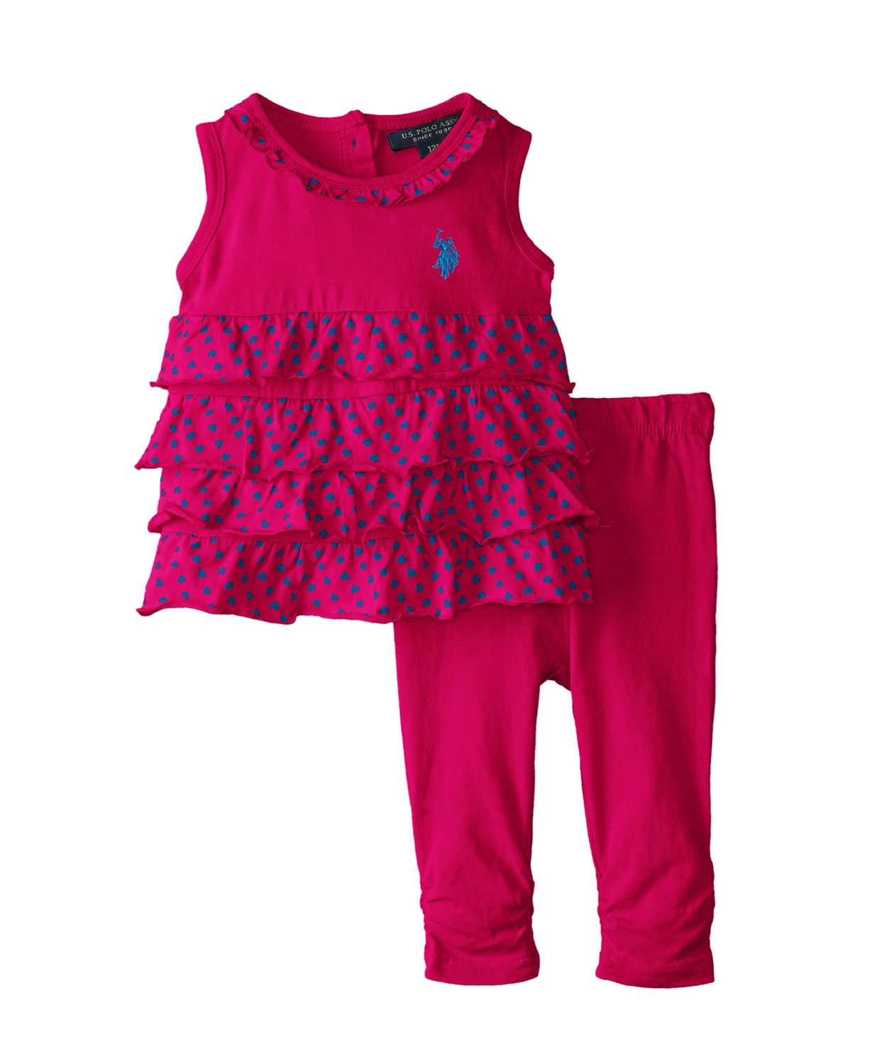baby girl leggings u.s. polo assn. baby-girls polo infant 3 pc set ruffled top with ruched NIDKVCM