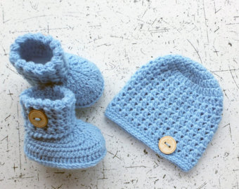 baby hat and booties - hat and booties set - crochet baby clothes - baby FEUPXHB