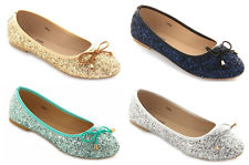 ballerina pumps womenu0027s glitter sequin ballerina ballet pumps sizes uk 4-9 (eu 37-42 PIABGME