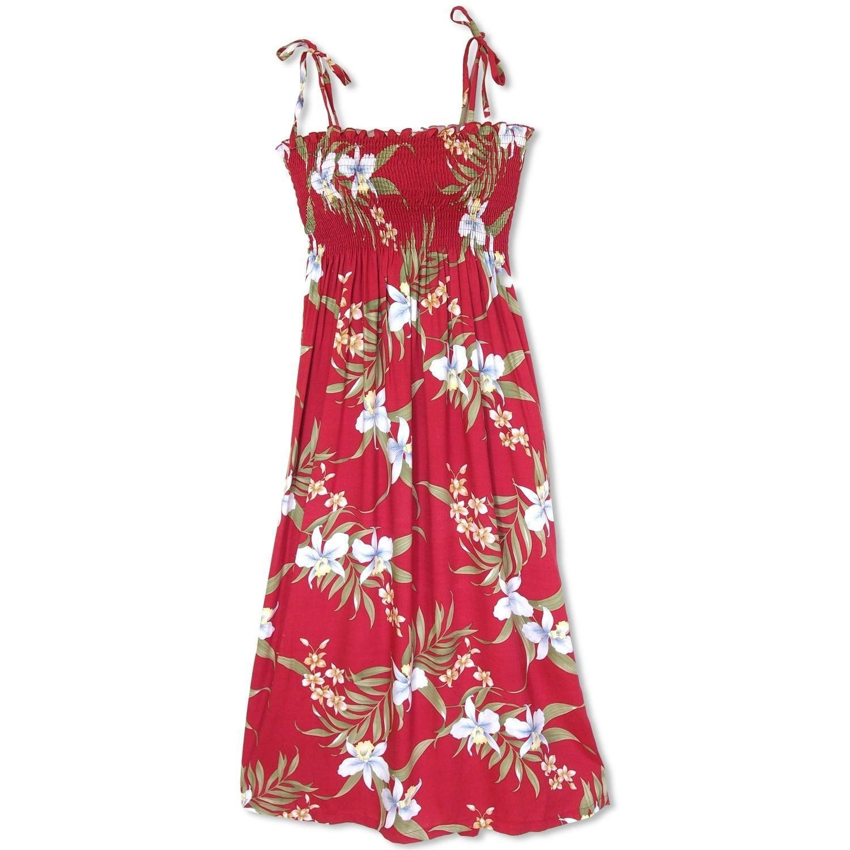 bamboo orchid red maxi hawaiian dress - lavahut KVPQUYM