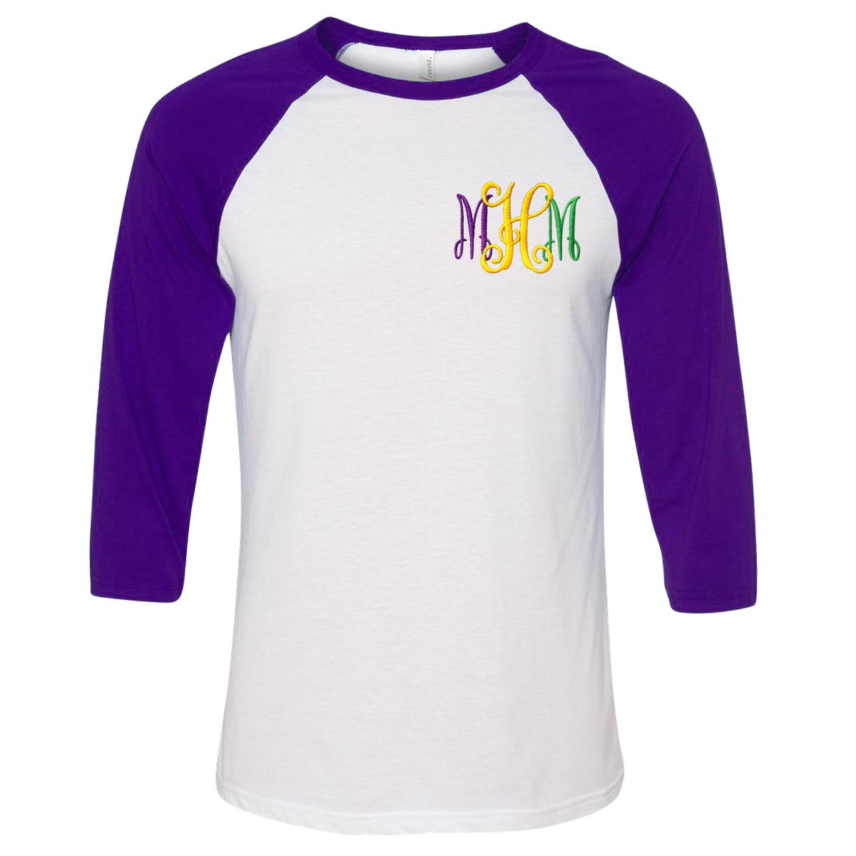 baseball tees monogrammed mardi gras baseball tee - purple NNNCOYS