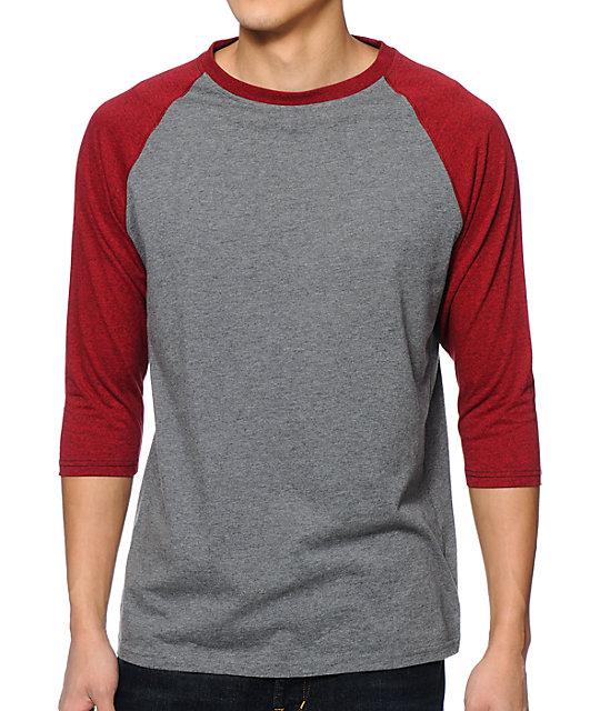 baseball tees zine 2nd inning heather grey u0026 marled red baseball shirt TIGLIOM