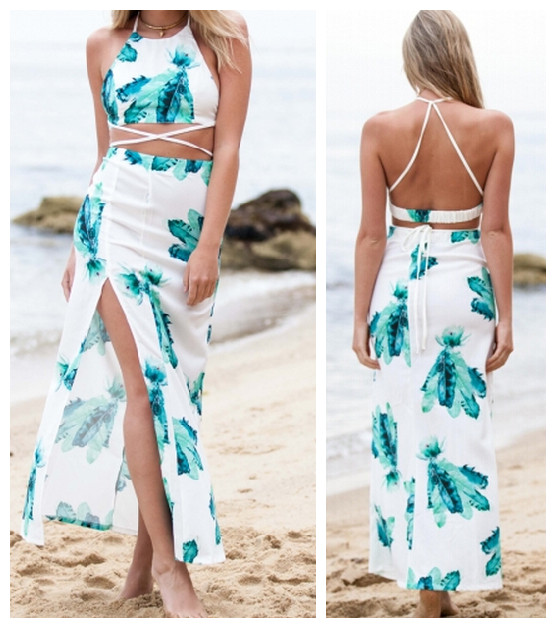 beach party outfit s m l 2016 summer style womens sexy two piece bodycon crop tops and bandage VRUFZQU