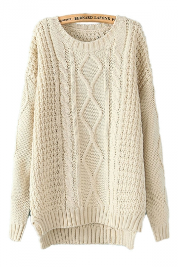 beige white diamond cable knit sweater MWYSLRF