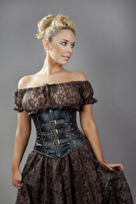 biker underbust corset with studs in black and brown matte VTOQJJD