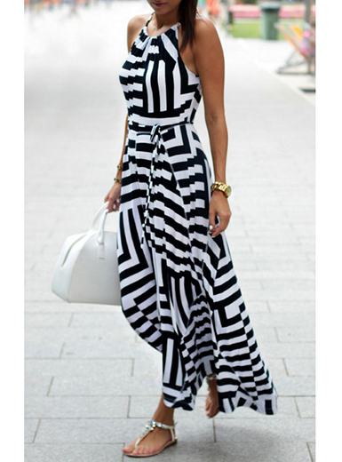 black and white maxi dress halter maxi dress - white black / sleeveless QUNGWHW