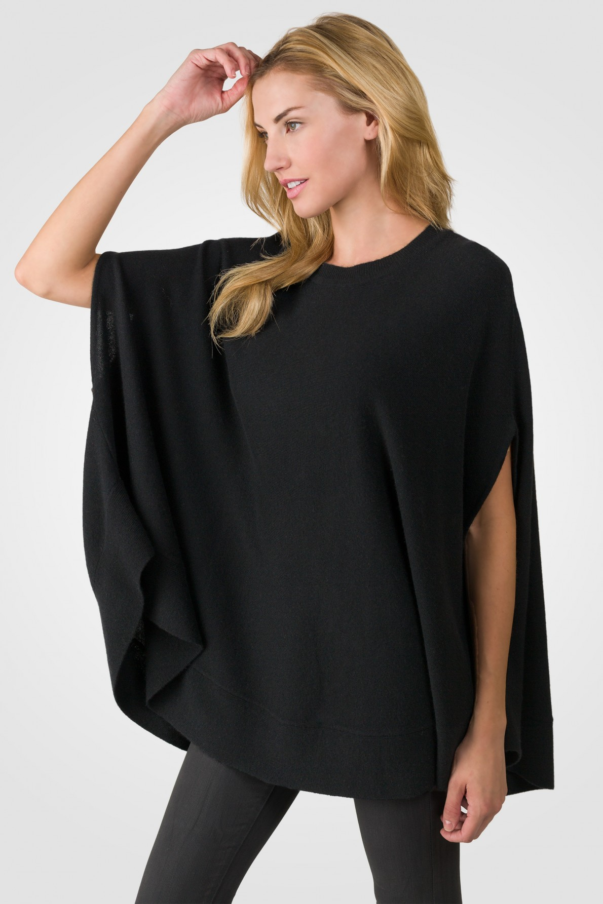 black cashmere oversized laid-back poncho sweater left side view MKAXILZ