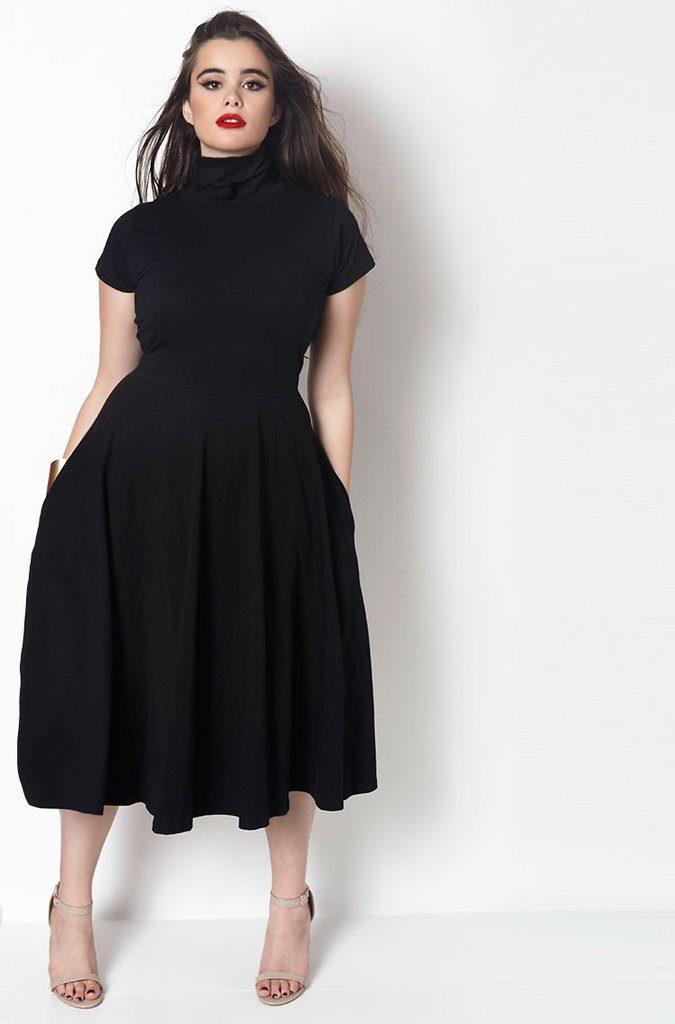 black dress plus size  HMDGHYH