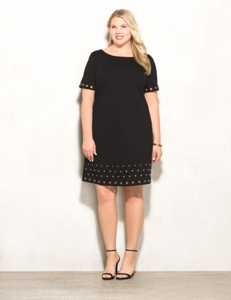 black dress plus size rozu0026ali plus size grommet ponte dress SIBHAMF