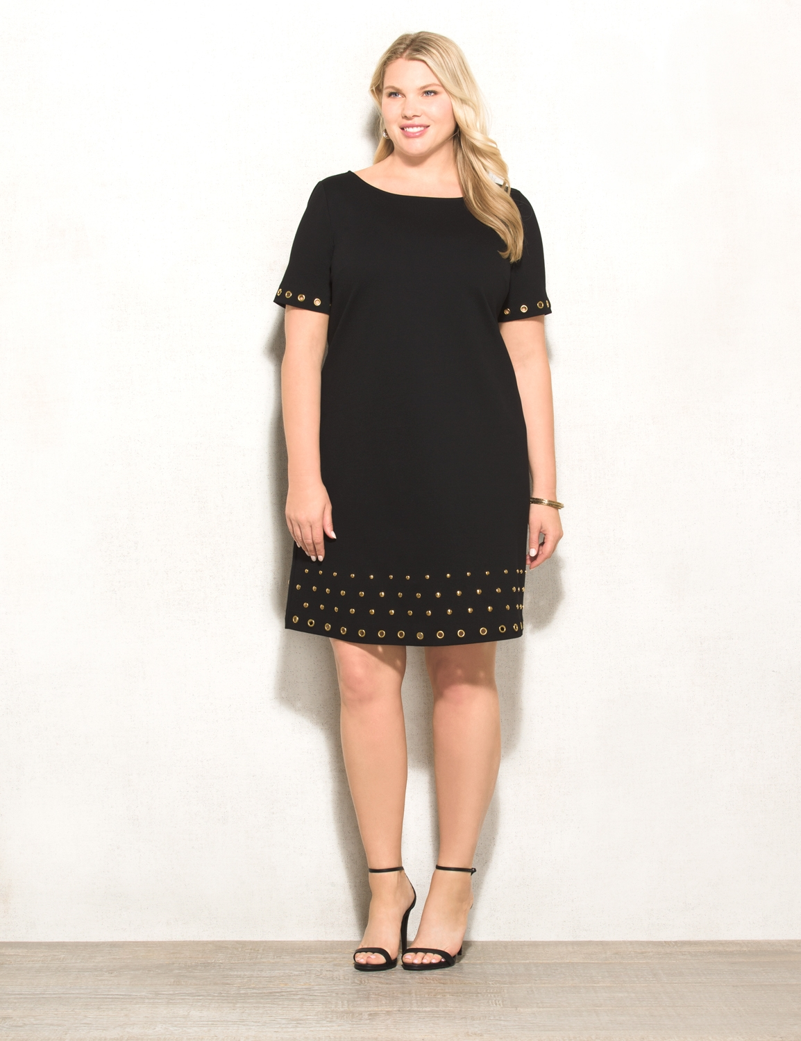 black dress plus size rozu0026ali plus size grommet ponte dress SIBHAMF