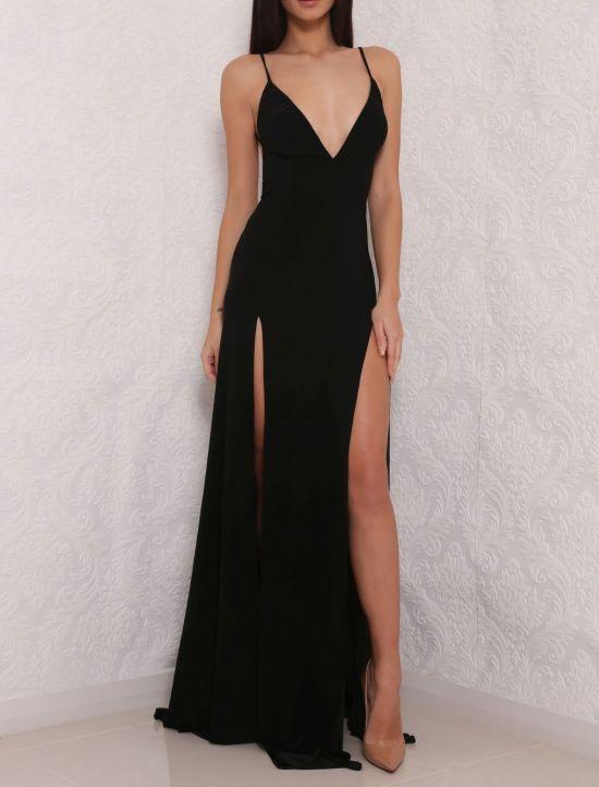 black evening dresses sexy high slit prom dress, black pr MHLVRUR